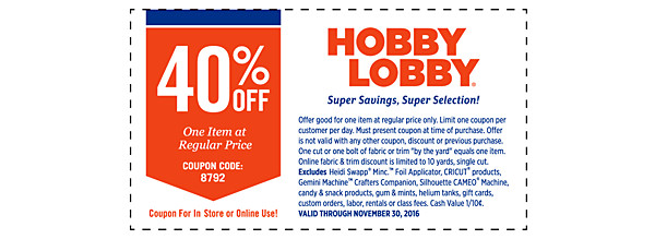 Hobby lobby online coupons 40 - Cleaning product coupons free