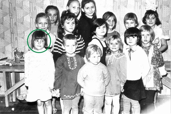 childhood photo of Nadia and siblings